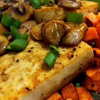 Healthy Recipes—Tofu steaks and vegetables