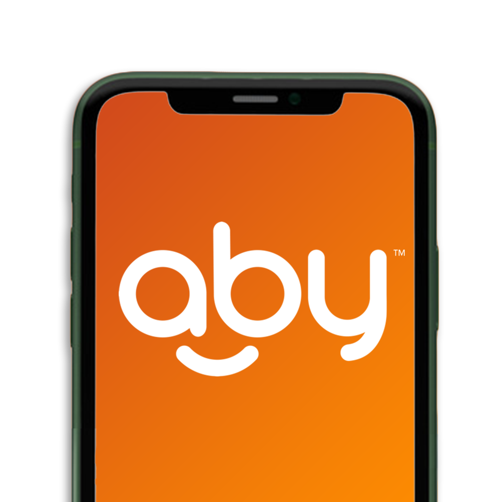 phone screen with logo for aby ms app